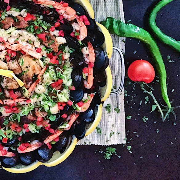 A Crowd-Pleasing Seafood, Chicken And Chorizo Paella Recipe!