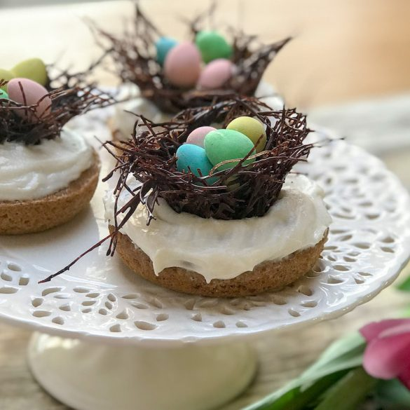 Delicious Carrot Cake Doughnuts with Chocolate Bird Nests